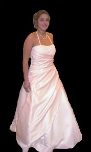 Amy Cattell's pink wedding gown