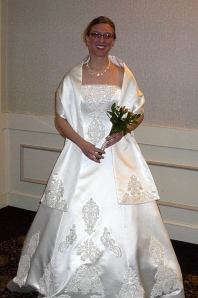 Amy Cattell's white wedding gown
