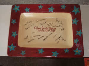 Wedding shower signed plate
